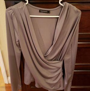 Beautiful draped cross front blouse